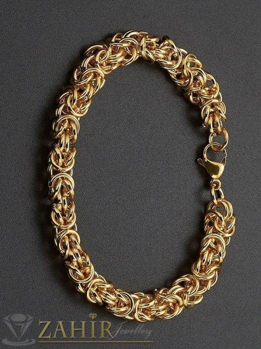 Двойно позлатена стоманена гривна в 4 налични дължини с римска плетка, широка 0,9 см- GS1181