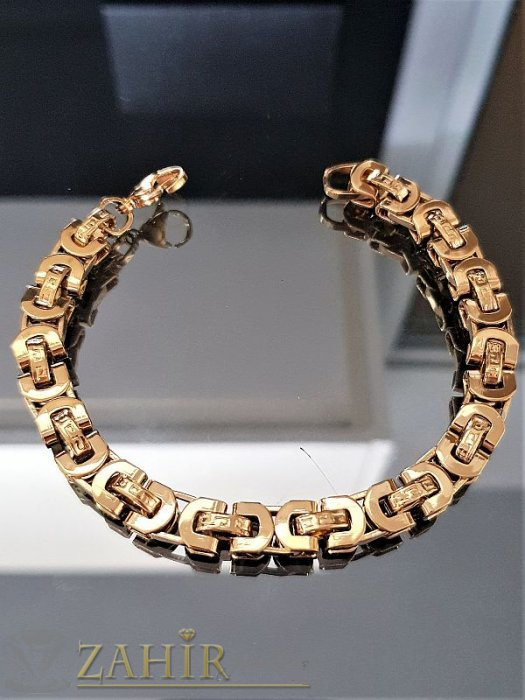 Красива стоманена гривна 22 см гравирани гръцки мотиви,позлатена, ширина 0,7 см - GS1195