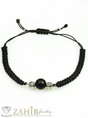 Ръчно плетена мъжка гривна с камък черен оникс, регулираща се дължина - MA1003