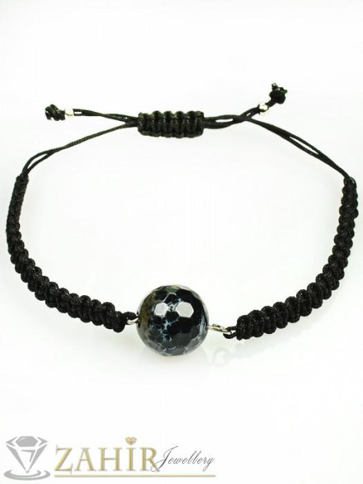 Ръчно плетена мъжка гривна с камък черен фасетиран ахат, регулираща се дължина - MA1005