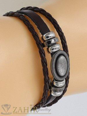 Двойна черна кожена гривна с гравирани метални елементи и капси,регулираща се дължина - MG1100