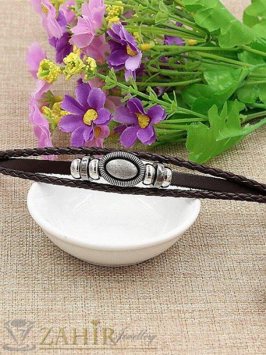 Бижута за мъже - Двойна черна кожена гривна с гравирани метални елементи и капси,регулираща се дължина - MG1100