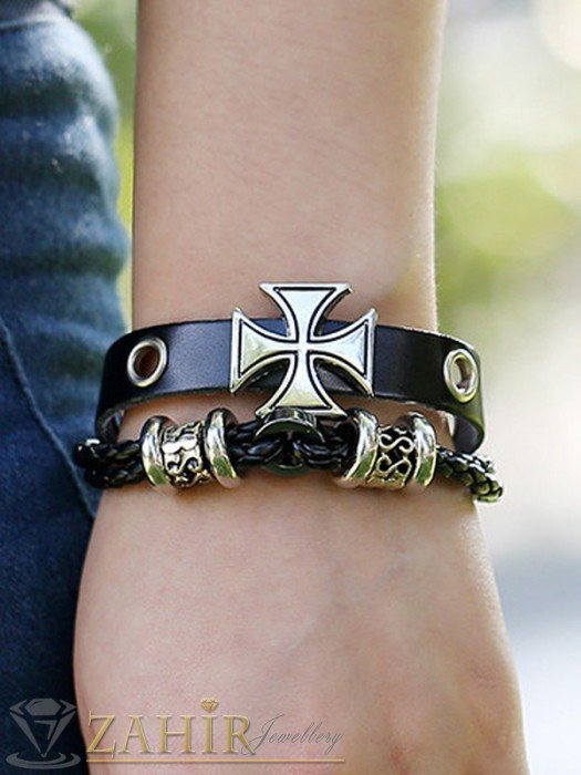Бижута за мъже - Двойна черна кожена гривна с гравирани метални елементи и кръст,регулираща се дължина - MG1107
