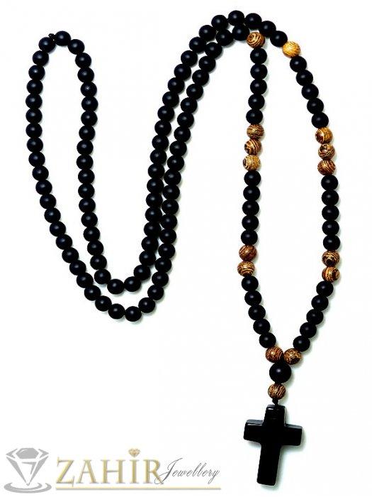 Ествествени камъни оникс и дървесен яспис на колие 70 см с висулка кръст от черен оникс 2,5 см, топче 0,8 см - MK1222