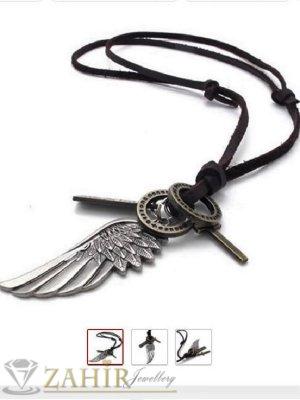 Черно мъжко кожено колие с висулка ангелско крило и символи, регулираща се дължина - MK1250
