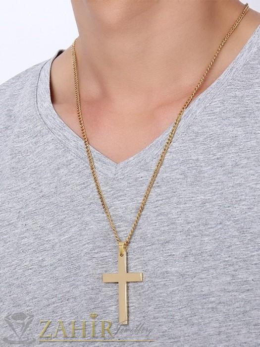 Колиета - Позлатен стоманен кръст 5 см на тънък ланец класическа плетка, дълъг 55 см - MK1255