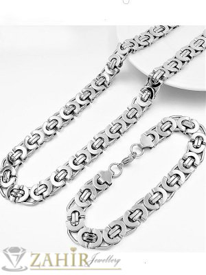 Масивен мъжки комплект, ланец от неръждаема стомана с гръцка плетка 1,1 см, дължина 60 см и гривна - ML1049
