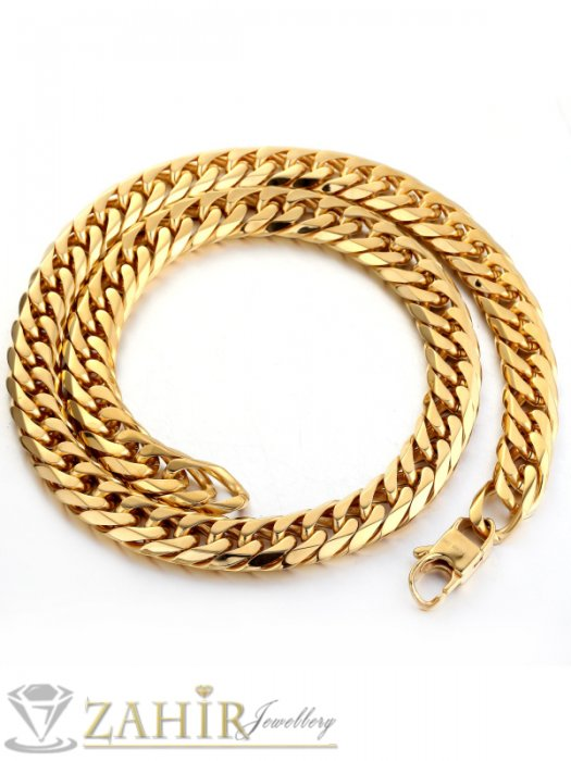 Великолепен ланец от стомана с двойно златно покритие, класическа плетка 60 см , широк 0,7 см - ML1061