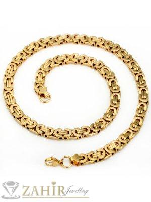 Стилен ланец от стомана с двойно златно покритие, гръцка плетка, широк - 0,6 см, дълъг - 60 см - ML1063