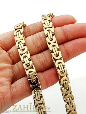 Стилен ланец от стомана с двойно златно покритие, гръцка плетка, широк - 0,8 см, дълъг - 60 см - ML1063