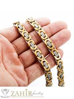 Масивен ланец от медицинска стомана - 60 см, византийска плетка с позлатени елементи, 0,8 см широк - ML1083