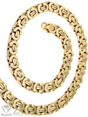 Масивен ланец от медицинска стомана - 62 см, византийска плетка със златно покритие, 1,1 см широк - ML1084