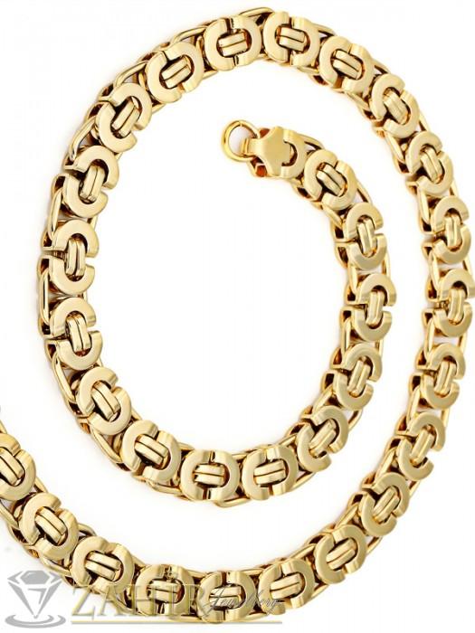Бижута за мъже - Масивен ланец от медицинска стомана - 62 см, византийска плетка със златно покритие, 1,1 см широк - ML1084
