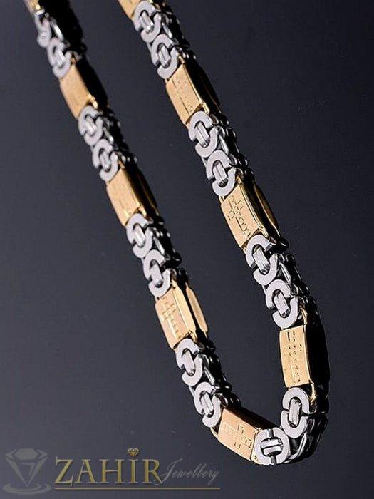 Бижута за мъже - Едър гръцки ланец 60 см от медицинска стомана с плочки с кръстове със златно покритие, 1,1 см ширина - ML1089