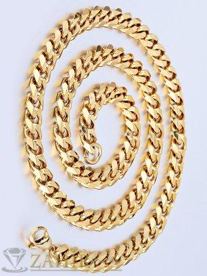 Масивен ланец от медицинска стомана, класическа плетка - 55 см, 0.9 см ширина, златно покритие - ML1093