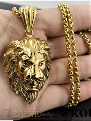 Интересен мъжки ланец - 60 см от  стомана с висулка лъвска глава - 3,5 см и златно покритие - ML1098