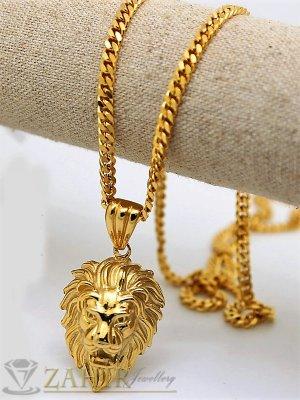 Стилен стоманен ланец 60 см с висулка лъвска глава 3,5 см , златно покритие - ML1104