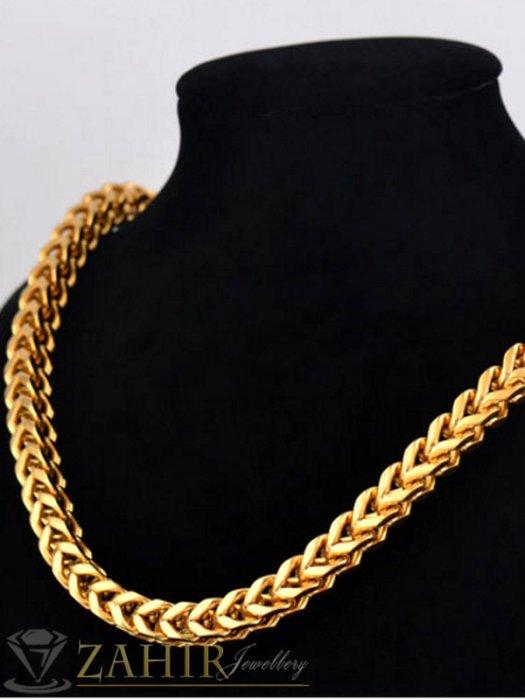Дизайнерски мъжки ланец от стомана кубинска плетка, широк - 0.5 см, дълъг - 55 см, златно покритие - ML1145