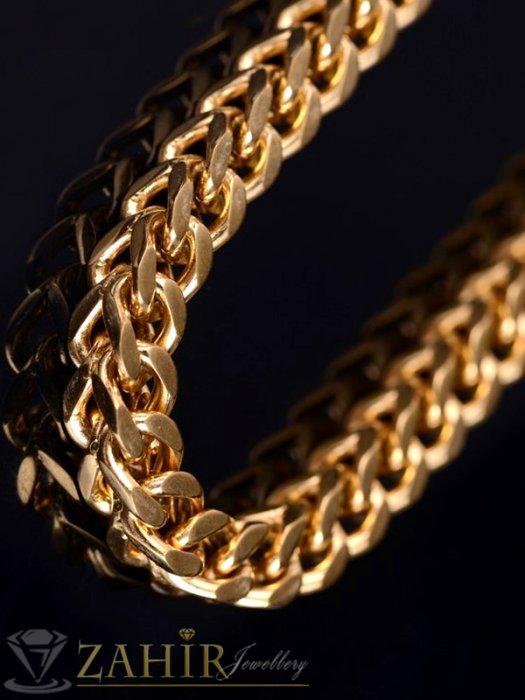 Бижута за мъже - Дизайнерски мъжки ланец от стомана кубинска плетка, широк - 0.5 см, дълъг - 55 см, златно покритие - ML1145