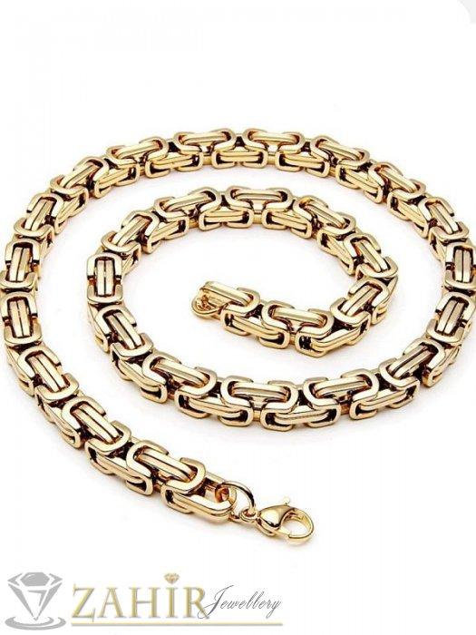 Двойно позлатен мъжки ланец - 60 см на основа стомана с гръцка плетка - 0,7 см широк - MK1164