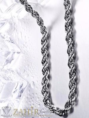 Изящно изработен стоманен ланец 57 см, двойна плетка, широк 0,7 см - ML1208