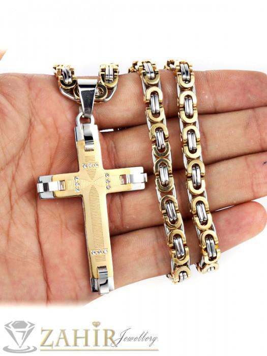 Бижута за мъже - Мъжки ланец неръждаема стомана 60 см с позлатени елементи, широк 0,8 см с висулка кръст от неръждаема стомана - 6 см - ML1016
