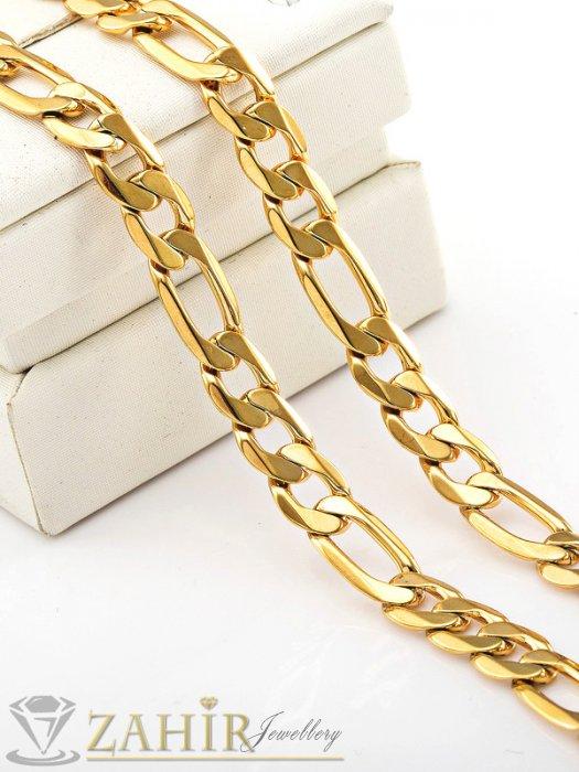 Бижута за мъже - Мъжки  позлатен ланец от неръждаема стомана - 60 см, широк 0,9 см, класическа плетка - ML1039