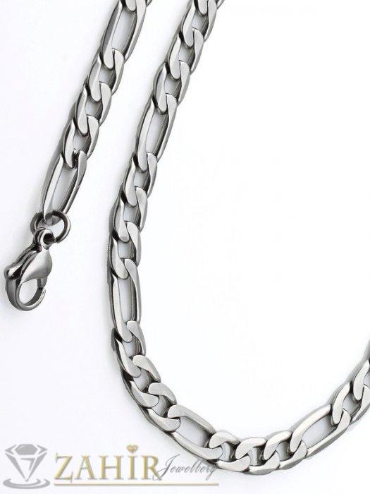 Бижута за мъже -  Мъжки ланец от неръждаема стомана - 60 см, широк 0,6 см, класическа фигаро плетка - ML1040 Мъжки ланец от неръждаема стомана - 60 см, широк 0,6 см, класическафигаро плетка