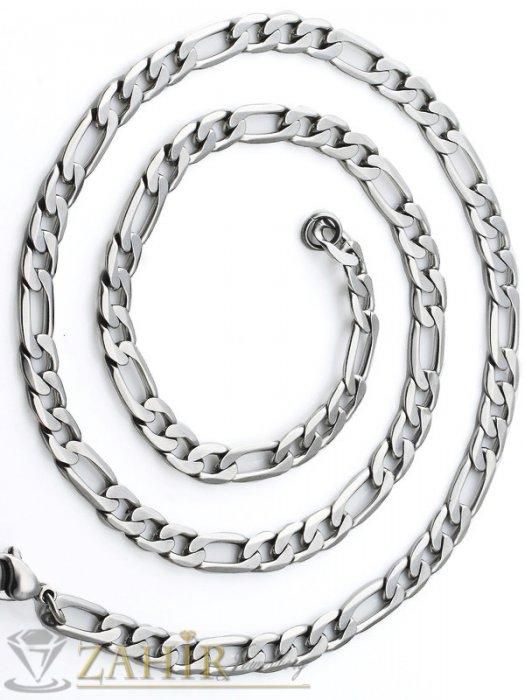 Мъжки ланец от неръждаема стомана - 60 см, широк 0,6 см, класическа фигаро плетка - ML1040