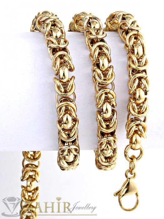 Бижута за мъже - Едър позлатен мъжки ланец от стомана византийска плетка - 0,8 см, дължина 59 см - ML1044