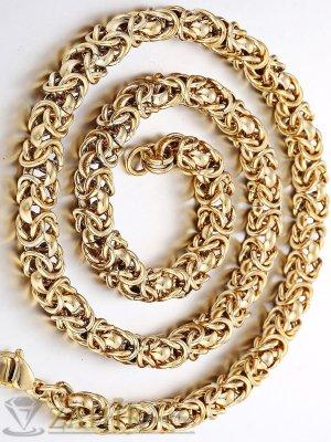 Едър позлатен мъжки ланец от стомана византийска плетка - 0,9 см, дължина 59 см - ML1044