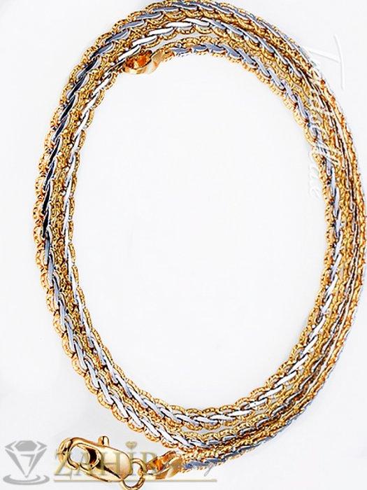 Бижута за мъже - Елегантен гравиран стоманен ланец, позлатени елементи, дълъг 57 см, широк - 0,6 см- ML1057