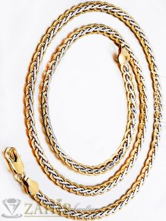 Елегантен гравиран стоманен ланец, позлатени елементи, дълъг 57 см, широк - 0,6 см - ML1057