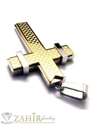 Стоманена висулка позлатен кръст - 6 см на черна кожена връв или метална верижка по избор - MP1003