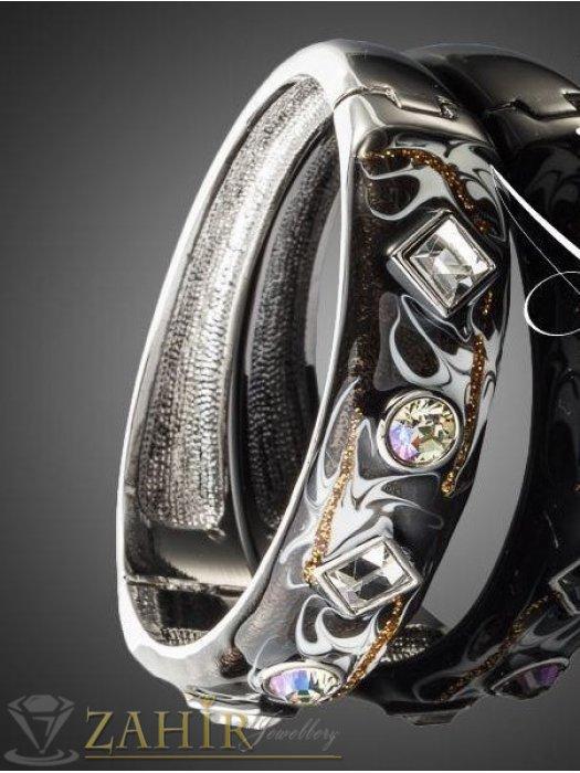 Дамски бижута - Висококачествена графитена гривна с кристали и стоманена основа, дълга 18 см- G1729