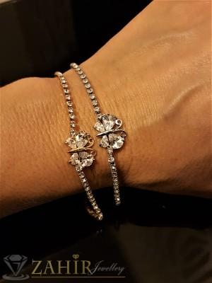 Изящна гривна с кристална пеперуда и сребърно или златно покритие, дълга 18 + 5 см - G1827
