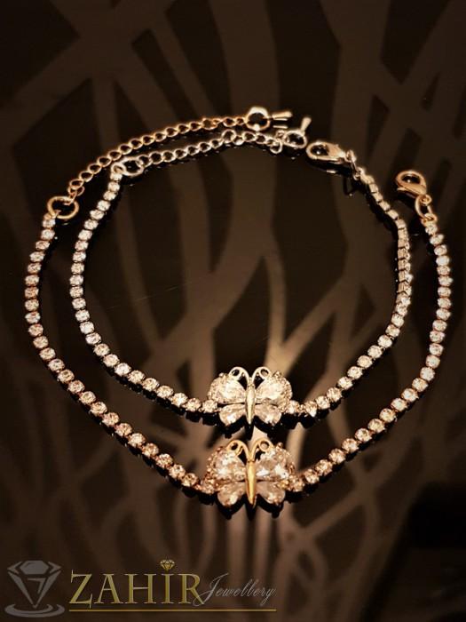 Дамски бижута - Изящна гривна с кристална пеперуда и сребърно или златно покритие, дълга 18 + 5 см - G1827