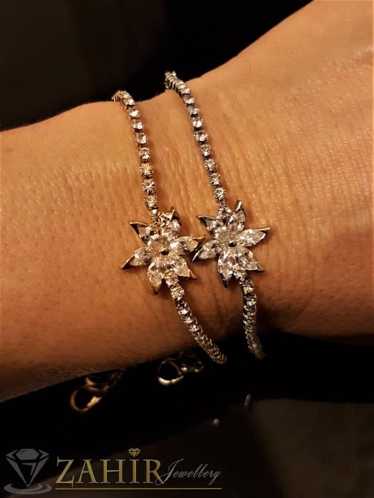 Изящна гривна с кристално цвете и сребърно или златно покритие, дълга 18 + 5 см - G1828