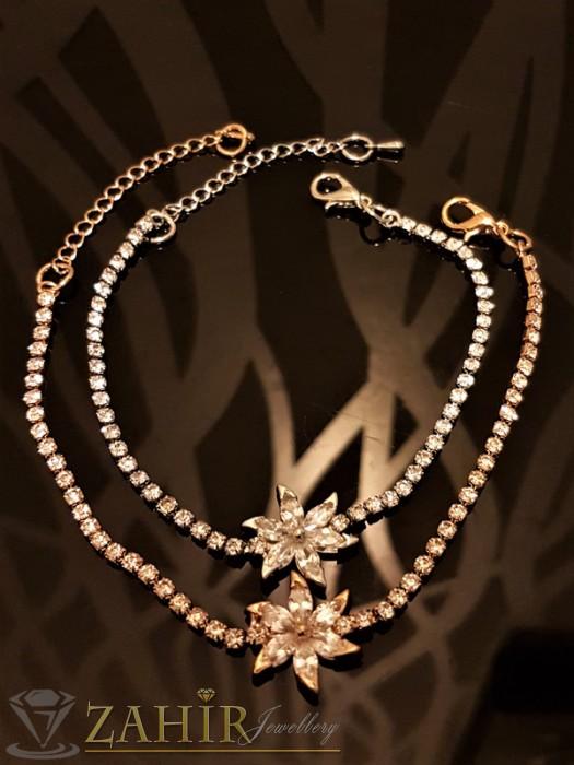 Дамски бижута - Изящна гривна с кристално цвете и сребърно или златно покритие, дълга 18 + 5 см - G1828