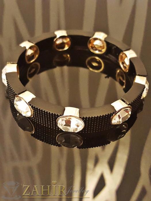 2019 модел ластична гривна с черни гравирани плочни, бели кристали и златно покритие - 18 см - G1661