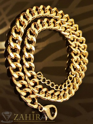 Модна гривна класическа плетка с 2 реда верижки с златно покритие - дълга 45 см - G1686