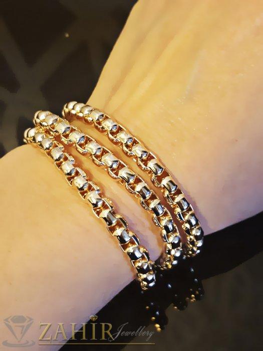 Дамски бижута - Тройна гривна тип верижка, златно покритие, 55+5 см, широка 0,6 см - G1703