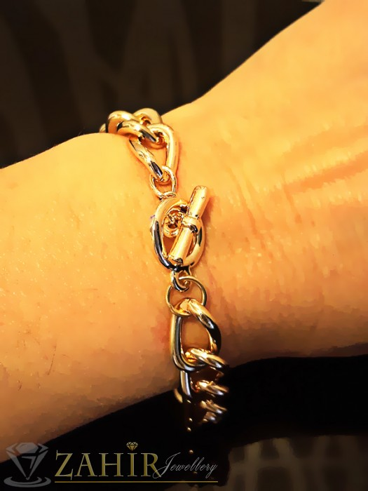 Дамски бижута - Гривна тип верижка класическа плетка, златно покритие, дълга 19 см - G1709