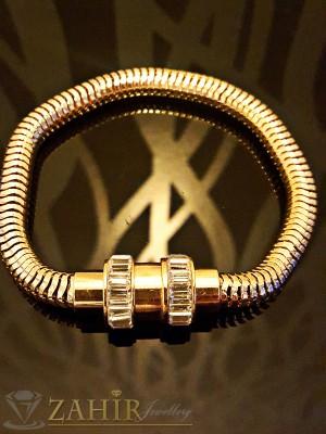 Супер актуална верижка със златно покритие и кристали, 19 см, магнитно закопчаване - G1712