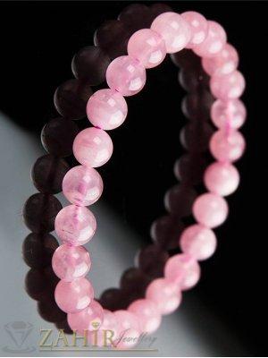 Ластична гривна от естествен розов кварц 8мм , налична в 4 размера - GA1017