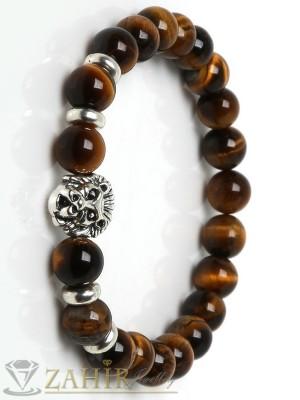 Ръчно изработена гривна от естествени камъни тигрово око 8 мм с метален лъв, 7 дължини - GA1110