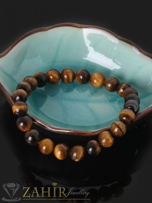 Ръчно изработена гривна от естествен камък тигрово око 8 или10 мм, 3 размера - GA1121
