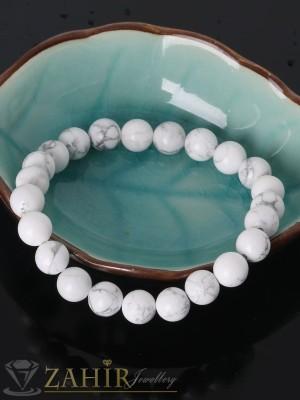 Ръчно изработена гривна от естествен хаулит бял мат 8 мм, 6 размера - GA1133