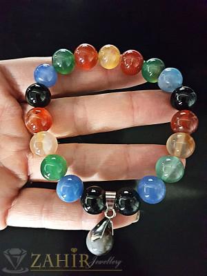 Ръчно низана гривна от естествен цветен ахат топче 10 см, налична в 3 рамера - GA1164