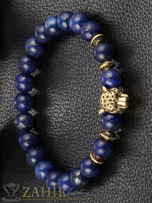 Дамски бижута - Ръчно низана гривна от естествено тигрово око или син ахат 8 мм с метална пантера, 3 размера - GA1175